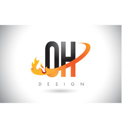Oh o h letter logo with fire flames design and vector