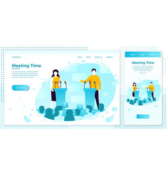 online web political meeting tribune set vector image