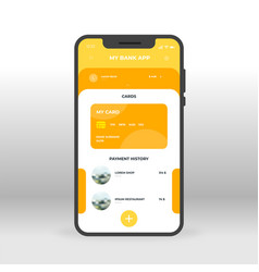 orange and yellow online banking ui ux gui screen vector image