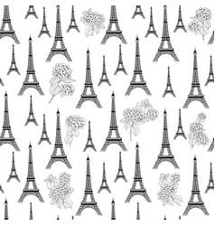 paris architecture pattern hydrangea flowers vector image