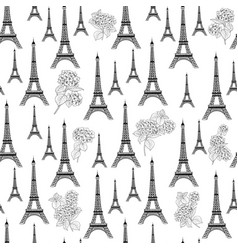 Paris architecture pattern of hydrangea flowers vector