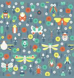 pattern with bugs vector image