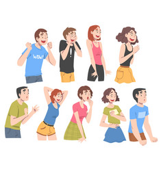 People with shocked face expression set emotional vector