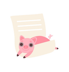 piglet lying on empty lined sheet of paper cute vector image