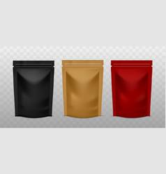 Plastic sachet pouch coffee zip package golden vector