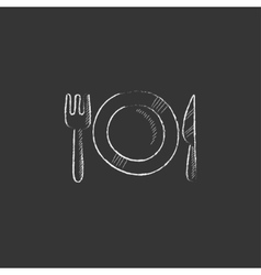 Plate with cutlery Drawn in chalk icon vector