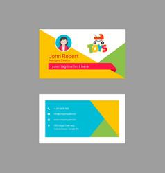 Playful geometric business card design vector