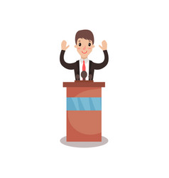 politician man character standing behind rostrum vector image