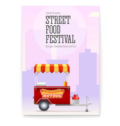 Poster with red fast food cart on backdrop big vector