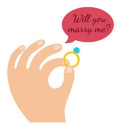 proposal marriage flat design man hand vector image