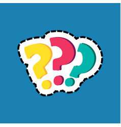 question marks dash lines flat color sticker vector image