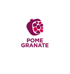 Red pomegranate logo grains identity vector