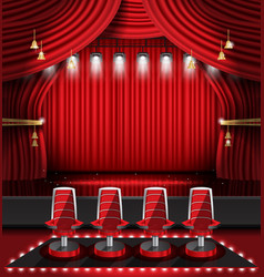 Red stage curtain with spotlights and four chairs vector