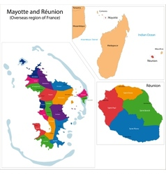 Reunion and Mayotte map vector