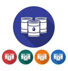 round icon of oil barrels flat style with long vector image