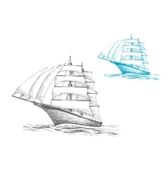 Sailing ship under sails in sea sketch image vector