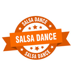 salsa dance ribbon salsa dance round orange sign vector image