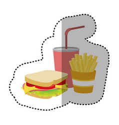 Sandwich soda and fries french icon vector
