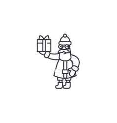 santa claus with a gift line icon sign vector image