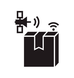 satellite delivery box tracking icon simple style vector image