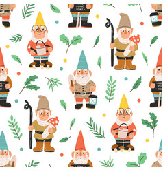 seamless pattern with bearded gnomes dwarfs vector image