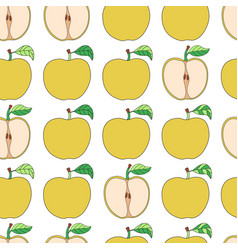 Seamless pattern with cartoon yellow apples vector