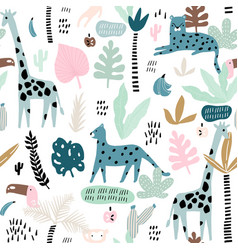 seamless pattern with giraffe leopardtucan vector image