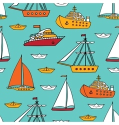 Seamless pattern with marine vessels vector image