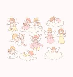 Set baby angels cupidons concept vector