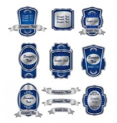 set of vintage silver labels vector image