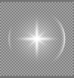 shining star with a glare white color vector image