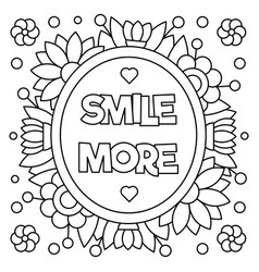 Smile more coloring page vector