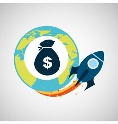 start up globe business bag money vector image