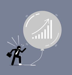 Stock market bubble artwork depicts a happy vector