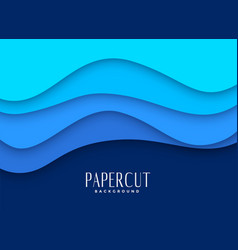 Stylish blue papercut background design vector