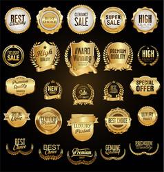 super collection golden retro vintage badges vector image