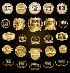 Super collection of golden retro vintage badges vector