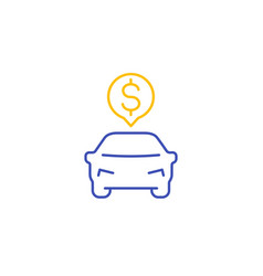 transportation costs line icon on white vector image