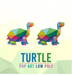 turtle animal pet pop art low poly line logo icon vector image