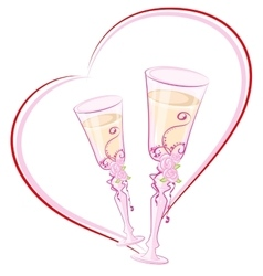 Two wedding champagne glass in heart shape vector image