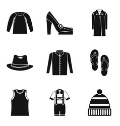Upper clothing icons set simple style vector