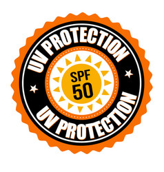 uv protection label or sticker vector image