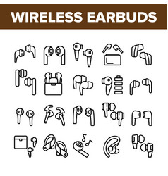 Wireless earbuds stereo device icons set vector