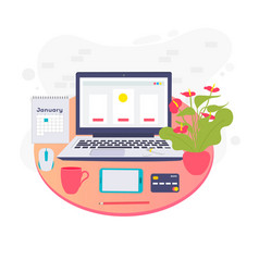 with desk and laptop flat design vector image