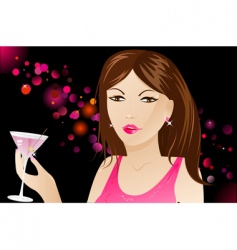 woman with martini in nightclub vector image