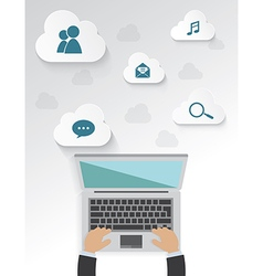 Workplace of icons with cloud for work Isolated vector