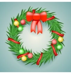 Wreath Balls Ribbons Christmas Decoration vector