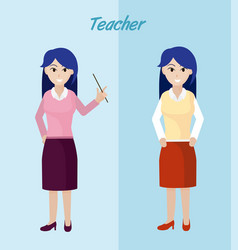 young teacher cartoon vector image