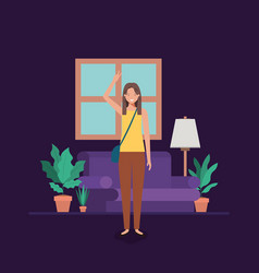 Young woman on the livingroom vector