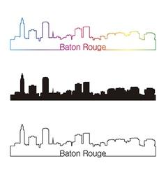 Baton rouge skyline linear style with rainbow vector